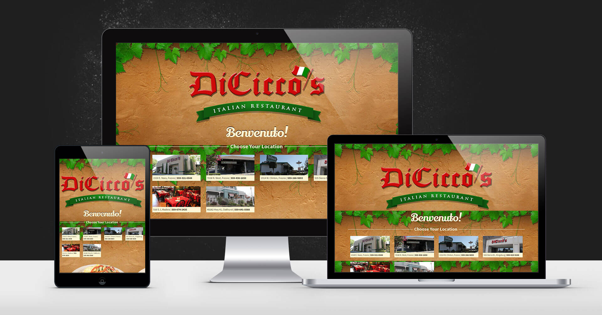 portfolio digital attic diciccos italian restaurant devices