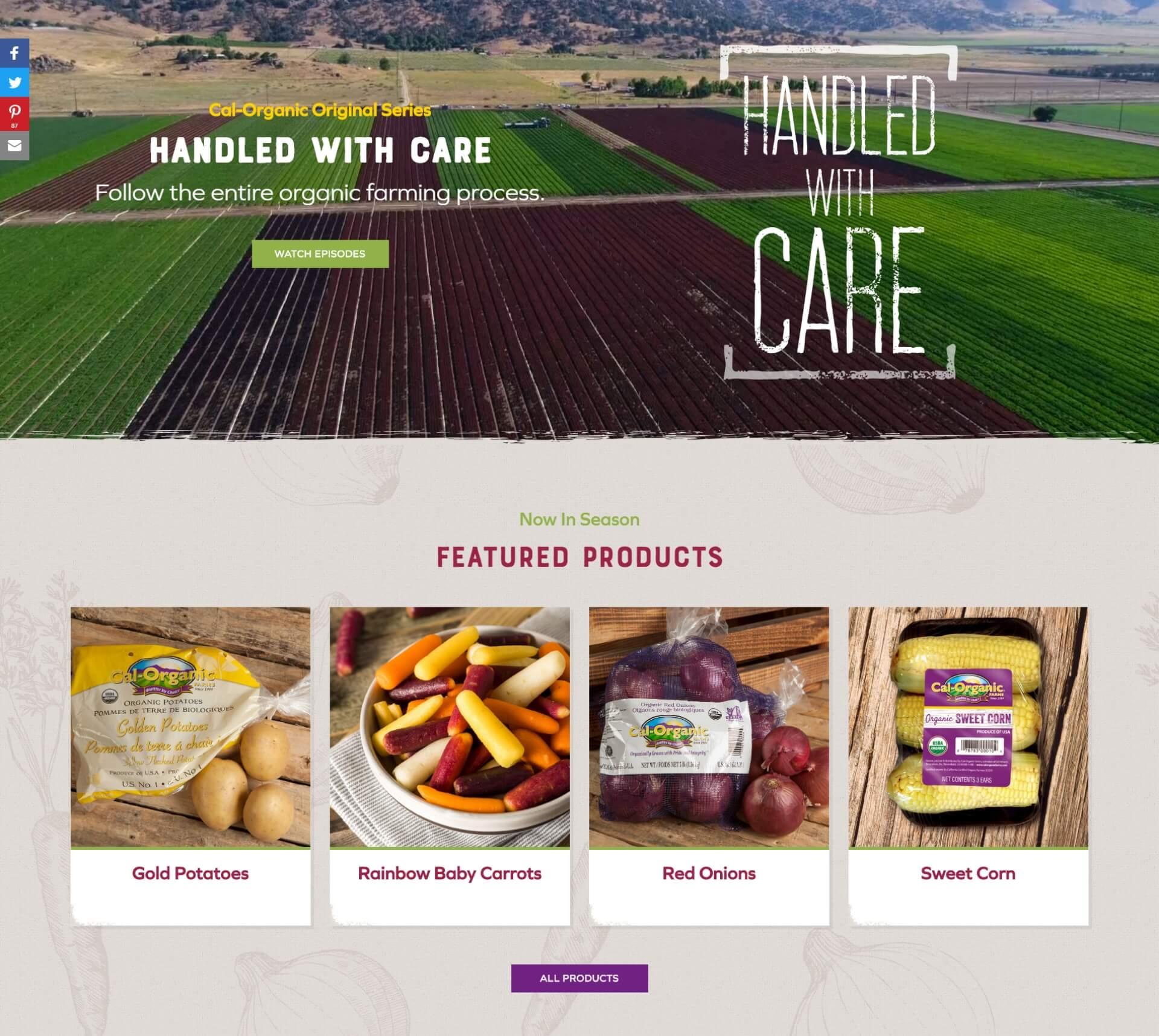 Digital Attic Portfolio - Cal Organic Farms Website